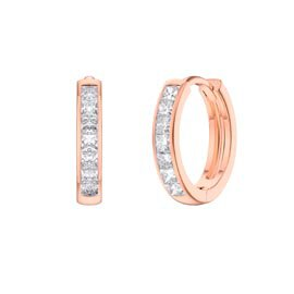 Princess White Sapphire 18K Rose Gold Vermeil Hoop Earrings