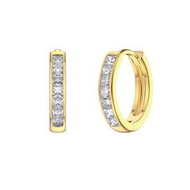 Princess White Sapphire 18K Gold Vermeil Hoop Earrings