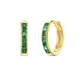 Princess Emerald 18K Gold Vermeil Hoop Earrings Small