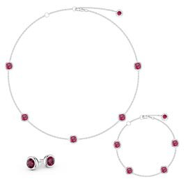Ruby By the Yard Platinum plated Silver Jewelry Set
