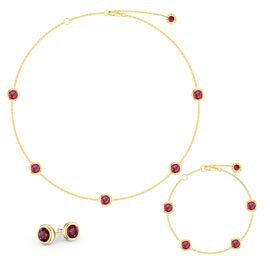 Ruby By the Yard 18K Gold Vermeil Jewelry Set