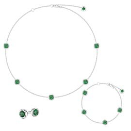 Emerald By the Yard Platinum plated Silver Jewelry Set