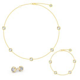 White Sapphire By the Yard 18K Gold Vermeil Jewelry Set