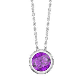 Infinity 1.0ct Amethyst Solitaire Platinum plated Silver Bezel Pendant