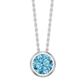 Infinity 1.0ct Blue Topaz Solitaire Platinum plated Silver Bezel Pendant