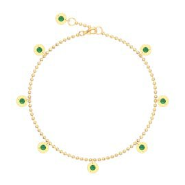 Charmisma Emerald 18ct Gold Vermeil Drop Anklet