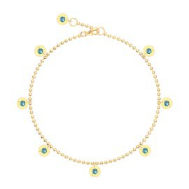 Charmisma Swiss Blue Topaz 18ct Gold Vermeil Drop Anklet