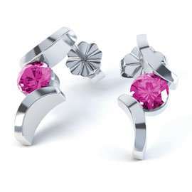 Combinations Pink Sapphire Round Rhodium plated Silver Earrings