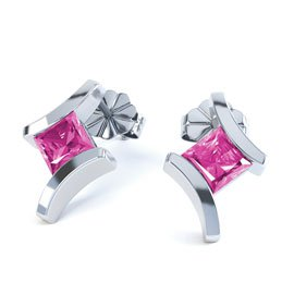 Combinations Pink Sapphire Square Rhodium plated Silver Earrings