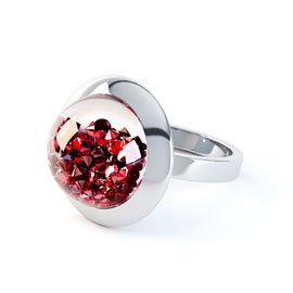 SnowDome 1ct Ruby Sapphire Dome 18ct Gold Ring