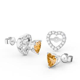 Charmisma Citrine Heart and White Sapphire Platinum Plated Silver Stud Earrings Halo Jacket Set