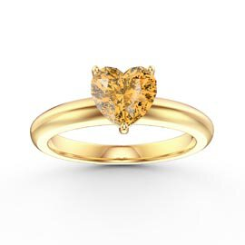 Unity 1ct Heart Citrine Solitaire 10K Yellow Gold Proposal Ring