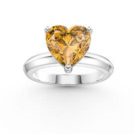 Unity 2ct Heart Citrine Solitaire Platinum Plated Silver Promise Ring