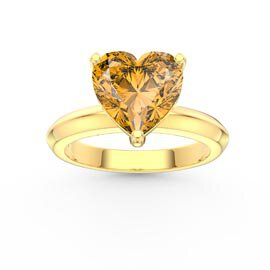 Unity 2ct Heart Citrine Solitaire 10K Yellow Gold Proposal Ring