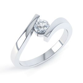 Combinations Diamond Platinum Round Engagement Ring