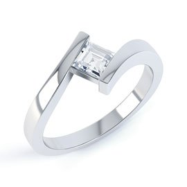 Combinations Diamond Platinum Princess Engagement Ring
