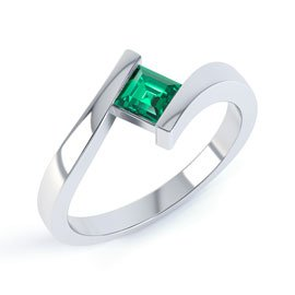 Combinations Emerald Square Stacking Silver Ring