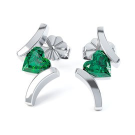 Combinations Emerald Heart 18K White Gold Earrings