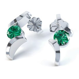 Combinations Emerald Round 18K White Gold Earrings