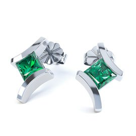 Combinations Emerald Square Rhodium plated Silver Earrings