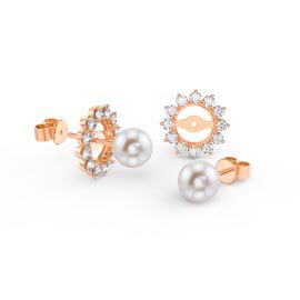 Fusion Pearl 18K Rose Gold Vermeil Stud Starburst Earrings Halo Jacket Set