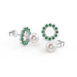 Fusion Akoya Pearl 18K White Gold Stud Emerald Gemburst Earrings Halo Jacket Set