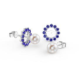 Fusion Pearl Platinum plated Silver Stud Sapphire Earrings Halo Jacket Set