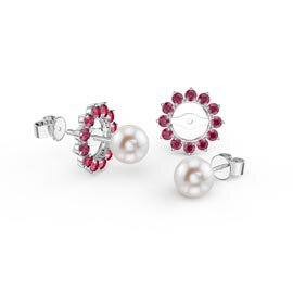 Fusion Pearl Platinum plated Silver Stud Ruby Earrings Halo Jacket Set