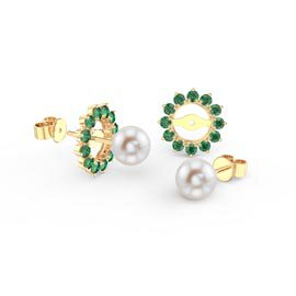 Fusion Akoya Pearl 18K Yellow Gold Stud Emerald Gemburst Earrings Halo Jacket Set