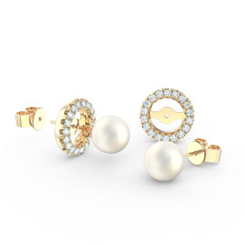 Fusion Pearl 18ct Gold Vermeil Stud Earrings Halo Jacket Set
