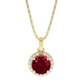 Eternity 0.5ct Ruby Halo 18K Gold Vermeil Pendant
