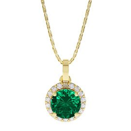 Eternity 0.5ct Emerald Halo 18K Gold Vermeil Pendant