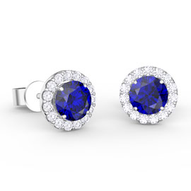 Eternity 1ct Sapphire Halo Platinum plated Silver Stud Earrings