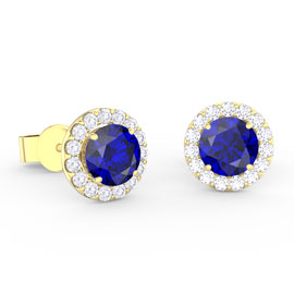 Eternity 1ct Sapphire Halo 18ct Gold Vermeil Stud Earrings