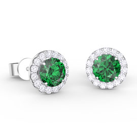 Eternity 1ct Emerald Halo 10K White Gold Stud Earrings