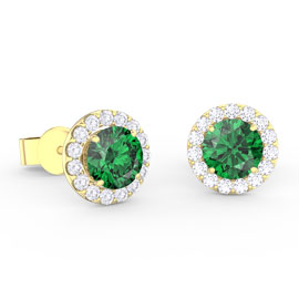 Eternity 1ct Emerald Halo 10K Yellow Gold Stud Earrings