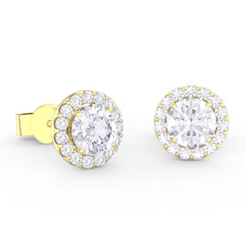 Eternity 1ct White Sapphire Halo 18K Gold Vermeil Stud Earrings