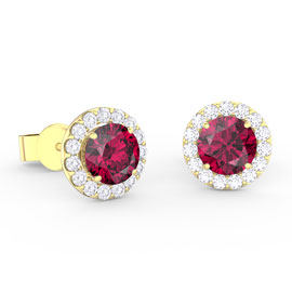 Eternity 1ct Ruby Halo 18ct Gold Vermeil Stud Earrings