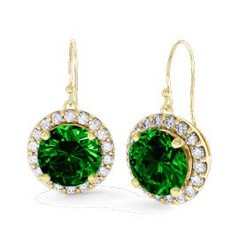 Eternity 1ct Emerald Halo 18ct Gold Vermeil Drop Earrings