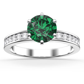 Unity 1ct Emerald Platinum plated Silver Channel Promise Ring
