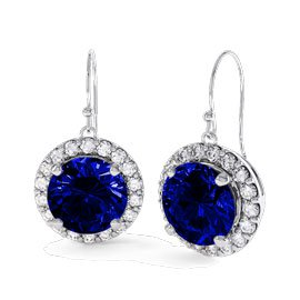 Eternity 1ct Sapphire Halo Platinum plated Silver Drop Earrings