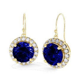Eternity 1ct Sapphire Halo 18ct Gold Vermeil Drop Earrings