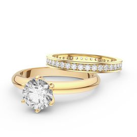 Unity 1ct White Sapphire Solitaire 18ct Gold Vermeil Full Channel Eternity Promise Ring Set