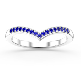 Unity Wishbone Sapphire Platinum plated Silver Promise Ring