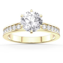 Unity 1ct White Sapphire Solitaire 18ct Gold Vermeil Channel Set Promise Ring