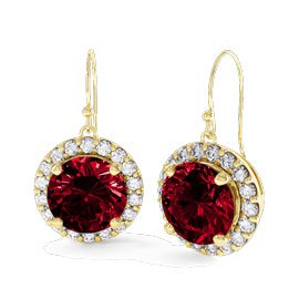 Eternity 1ct Ruby Halo 18ct Gold Vermeil Drop Earrings