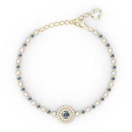 Fusion Aquamarine and Diamond 18ct Yellow Gold Tennis Bracelet