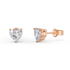 Charmisma 1ct White Sapphire Heart 18K Rose Gold Vermeil Stud Earrings