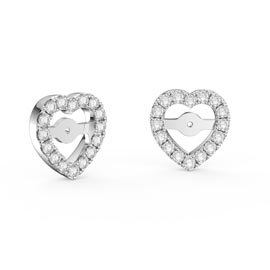 Charmisma White Sapphire Platinum Plated Silver Heart Earring Halo Jackets