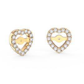 Charmisma White Sapphire 18ct Gold Vermeil Heart Earring Halo Jackets